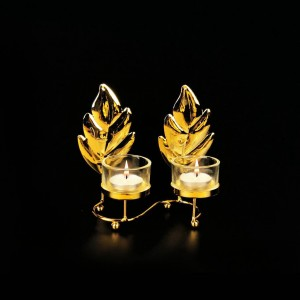 Leaf Metal Golden Double Candle Stand with Glass Pot - waseeh.com