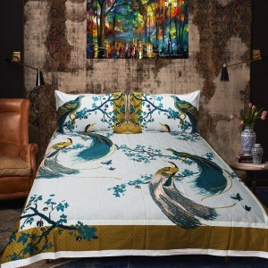 Cotton satin Double Bed Sheet With 2 Pillow cases - waseeh.com