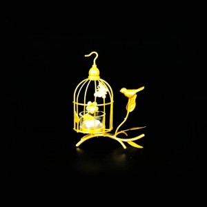 Bird Cage Metal Golden Candle Stand with Glass Pot - waseeh.com