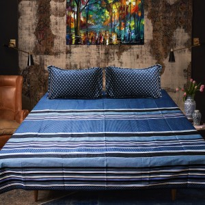 Black & Blue - Cotton Satin - Double Bed Sheet Set - waseeh.com