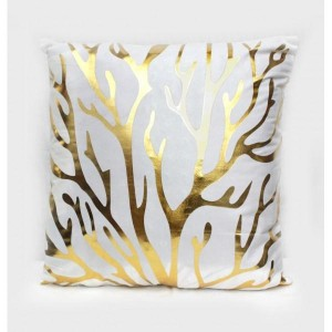 Branches - Golden Printed Cushion Cover - waseeh.com