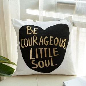 Be Courageous - Golden Printed Cushion Cover - waseeh.com