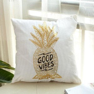 Pineapple - Golden Printed Cushion Cover - waseeh.com