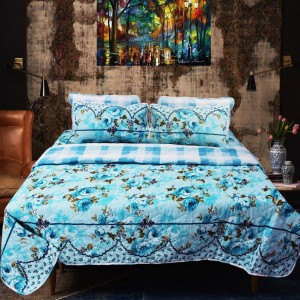 Blue Font - Export Quality Bed Spread Set - 6 pc - waseeh.com
