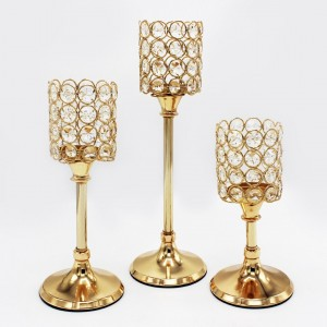3 pc Golden Candle Stand - waseeh.com