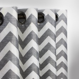 "Grey Chevron - Curtain With Lining - Single Panel - 52"" x 90"" - waseeh.com"