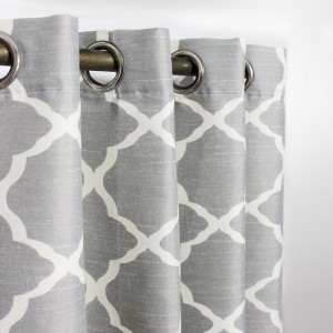 "Gray & White Geometric - Curtain With Lining - Single Panel - 50"" x 90"" - waseeh.com"