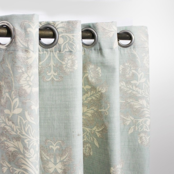 """Light Green Floral - Curtain With Lining - Single Panel - 44"""" x 96"""" - waseeh.com"""