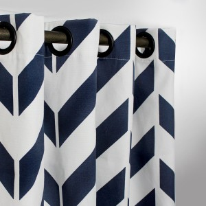 "Blue Zig Zag - Duck Cotton Curtain With Lining - Single Panel - 44"" x 96"" - waseeh.com"