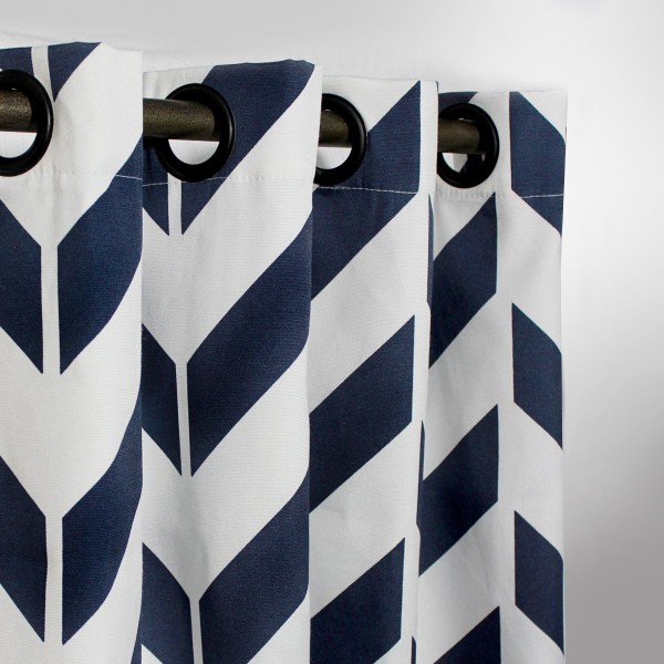 """Blue Zig Zag - Duck Cotton Curtain With Lining - Single Panel - 44"""" x 96"""" - waseeh.com"""