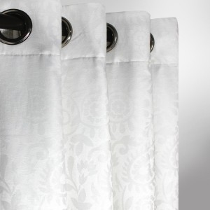 """White Patterned - Curtain With Lining - Single Panel - 44"""" x 96"""" - waseeh.com"""