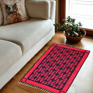 Geometric - Hand-woven Woolen Rug - Double Seam - Red and Black - 2' x 3' - waseeh.com