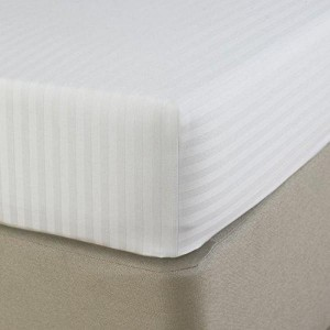 Fitted Sheet - White Striped - Satin - waseeh.com