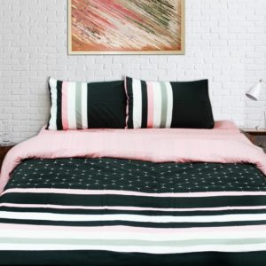 Export Quality Quilt Cover Set - 3 pcs - Pink Lined - waseeh.com