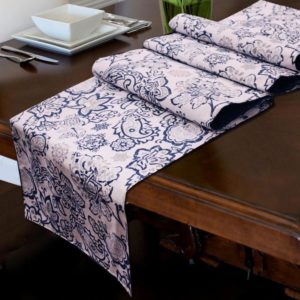 Table Runner - 1 PC Set - Blue Patterned - waseeh.com